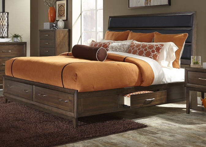 Hudson Square Espresso Queen Upholstered Storage Platform Bed