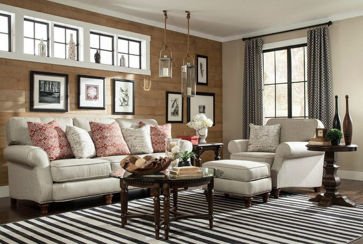 Whitfield Walnut Woven Fabric Living Room Set