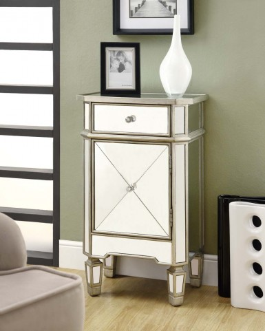 3702 Brushed Silver / Mirrored Accent Cabinet