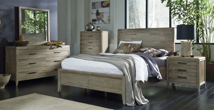 Harbourside Weathered Wire Brushed Horizontal Slat Panel Bedroom Set