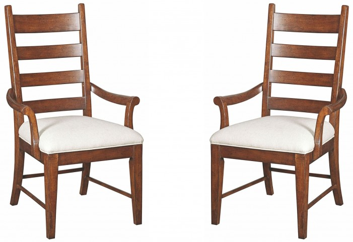 Homecoming Vintage Cherry Patterson Ladderback Arm Chair Set of 2