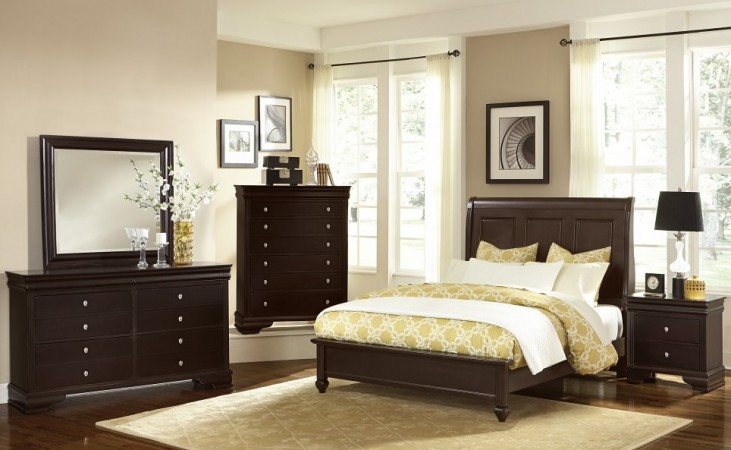 French Market Antique Merlot Youth Sleigh Bedroom Set