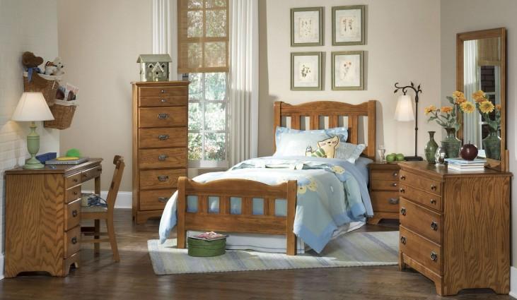 Creek Side Autumn Oak Youth Splat Bedroom Set