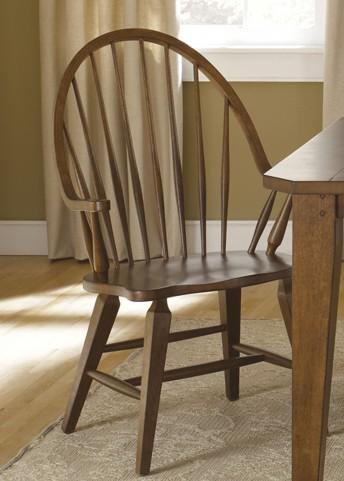 Hearthstone Rustic Oak Windsor Back Arm Chair