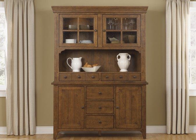Hearthstone Rustic Oak Buffet With Hutch