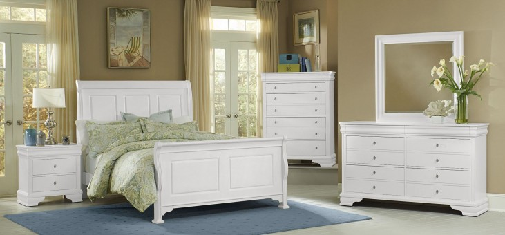 French Market Soft White Sleigh Bedroom Set