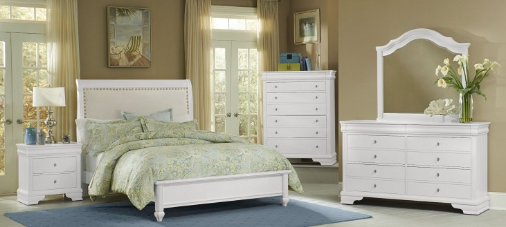 French Market Soft White Upholstered Panel Bedroom Set