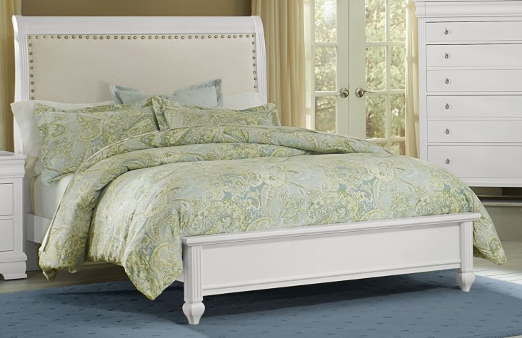 French Market Soft White Full Upholstered Panel Bed