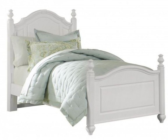 French Market Soft White Twin Poster Bed