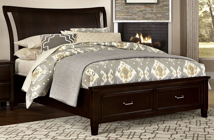 Commentary Merlot Queen Benchback Panel Storage Bed
