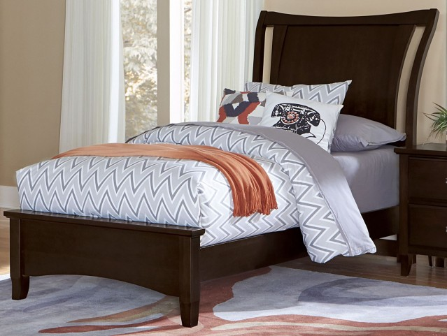 Commentary Merlot Twin Benchback Panel Bed