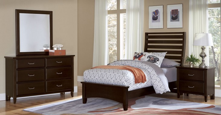 Commentary Merlot Youth Wing Panel Bedroom Set