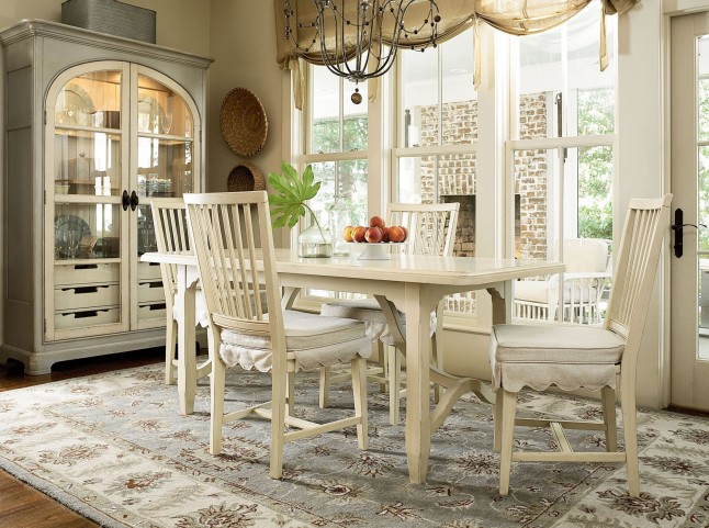 Riverhouse White Kitchen Extendable Dining Room Set