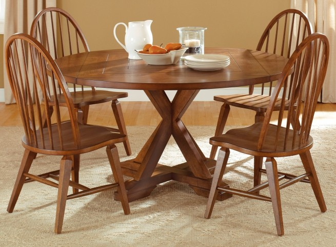 Hearthstone Drop Leaf Extendable Pedestal Room Set