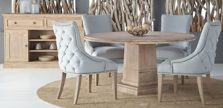 "Hudson Stone Wash 60"" Round Dining Room Set with Avenue Dining Chairs"