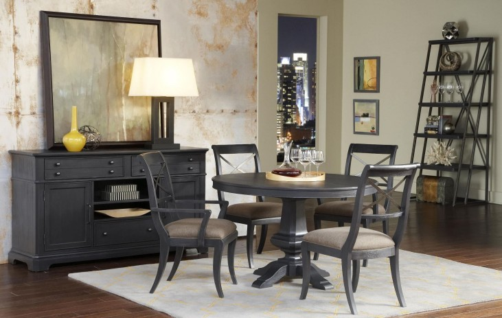 Vintage Tempo Unique Charcoal Round Dining Room Set