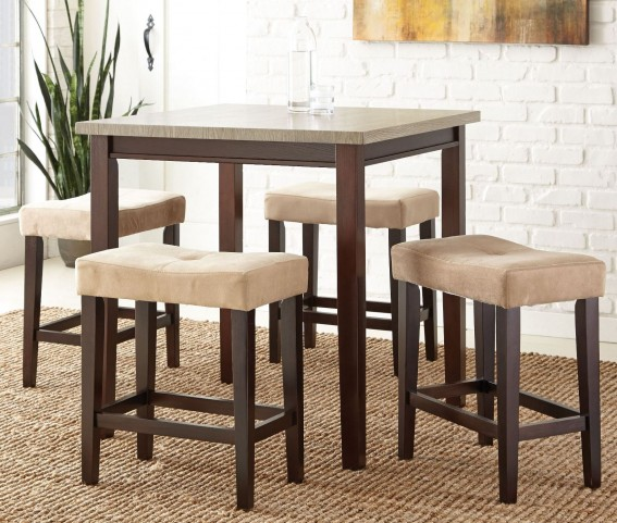 Aberdeen Grey Silvershield 5 Piece Counter Height Dining Set