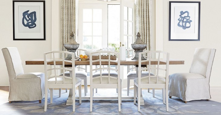 Moderne Muse Bisque Extendable Rectangular Dining Room Set