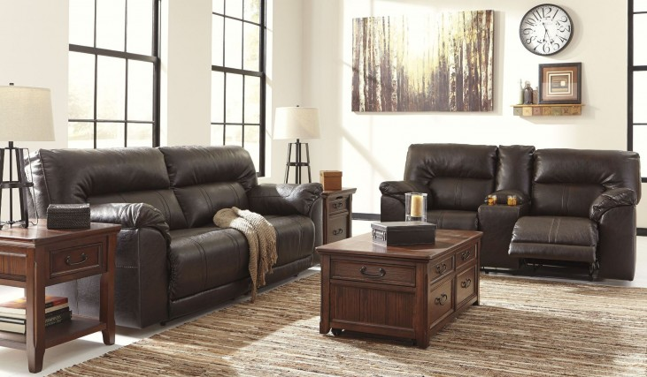 Barrettsville DuraBlend Chocolate Reclining Living Room Set