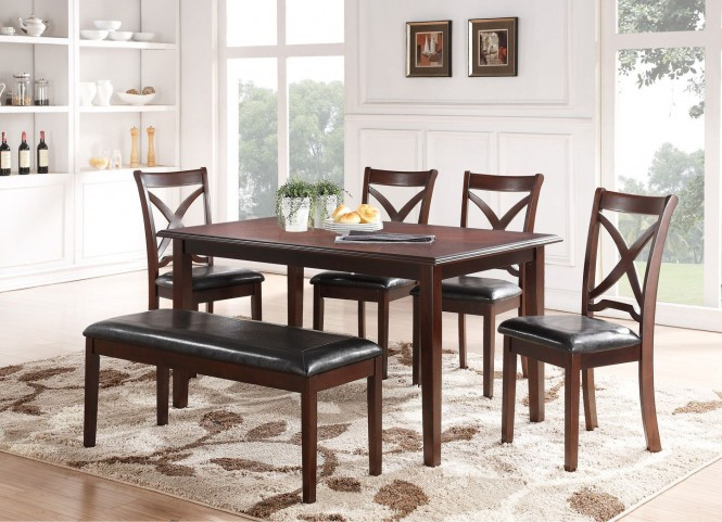 Milo Espresso 6Pc Rectangular Dining Table Set