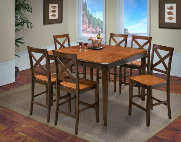 Latitudes Ginger/African Chestnut Cut Corner Counter Height Extendable Dining Room Set
