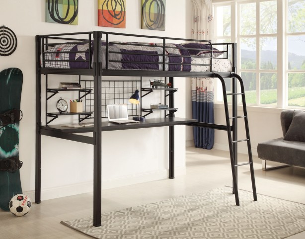 Boltzero Black Twin Loft Workstation Bed