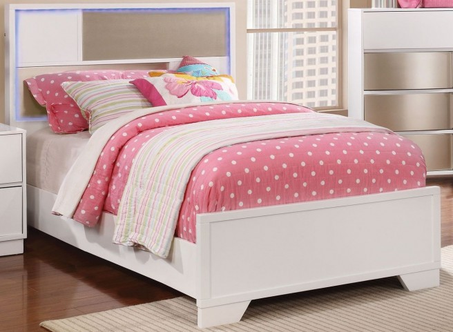 Havering Blanco and Sterling Twin Panel Bed