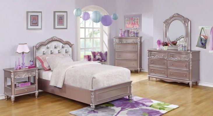 Caroline Metallic Lilac Youth Platform Bedroom Set