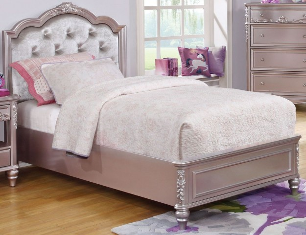 Caroline Metallic Lilac Twin Platform Bed