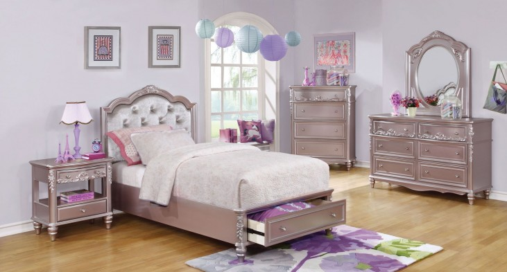 Caroline Metallic Lilac Youth Storage Platform Bedroom Set
