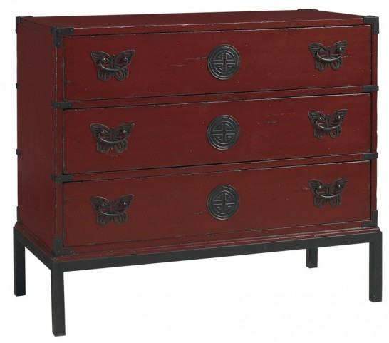 Henry Link Ming Red Papillon Rouge Hall Chest