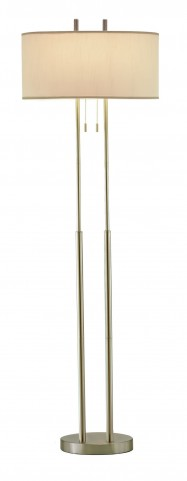 Duet Satin Steel Floor Lamp