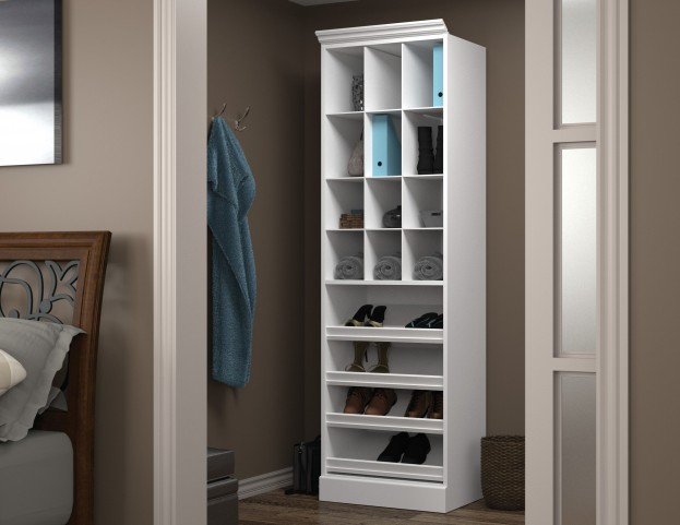 "Versatile White 25"" Cubby Storage Unit"