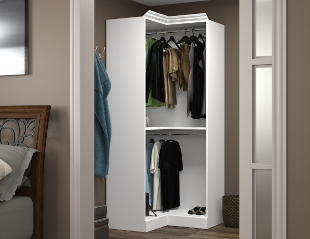 Versatile White 36'' Corner Open Storage Unit