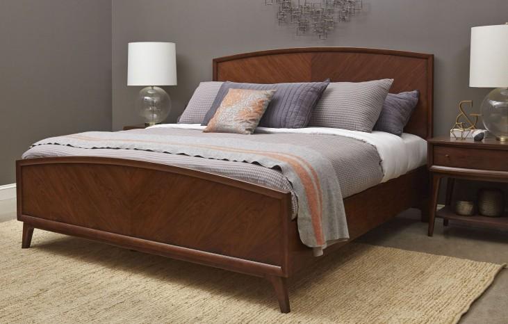 Modern Harmony Burnished Walnut King Panel Bed