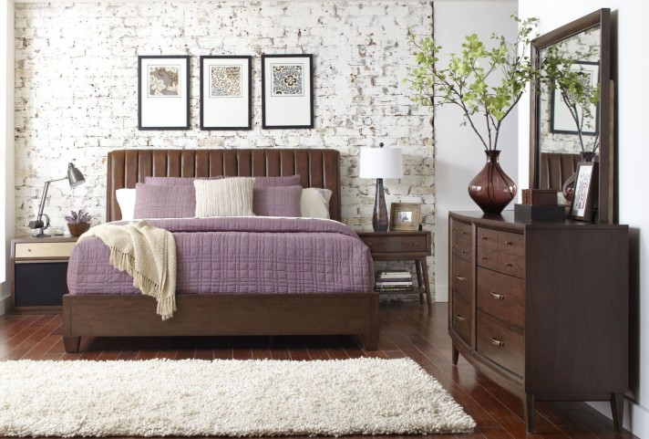 Modern Harmony Burnished Walnut Platform Bedroom Set