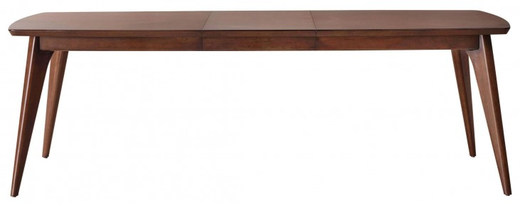 Modern Harmony Burnished Walnut Rectangular Leg Extendable Dining Table