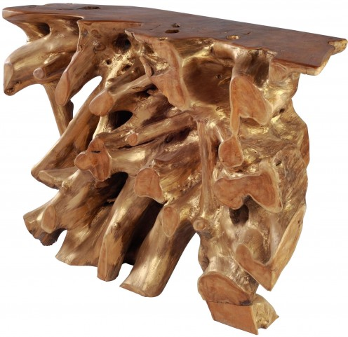 Dino Natural & Antique Gold Console Table