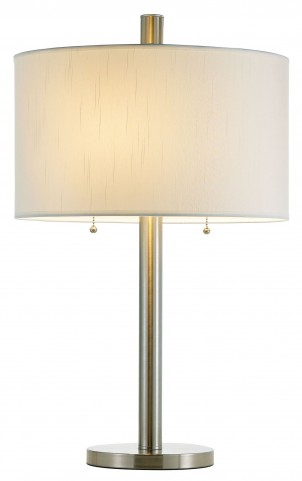 Boulevard Satin Steel Round Base Table Lamp
