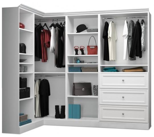 Versatile White 90'' Corner Storage Wardrobe