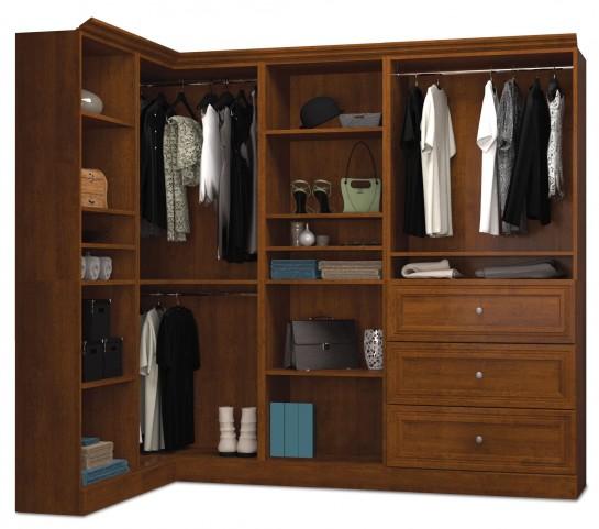 Versatile Tuscany Brown 90'' Corner Storage Wardrobe