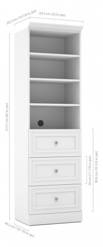 Versatile White 25'' Drawer Storage Bookcase