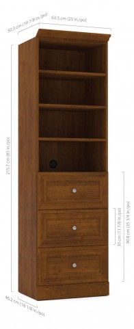 Versatile Tuscany Brown 25'' Drawer Storage Bookcase