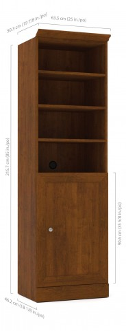 Versatile Tuscany Brown 25'' Door Storage Bookcase