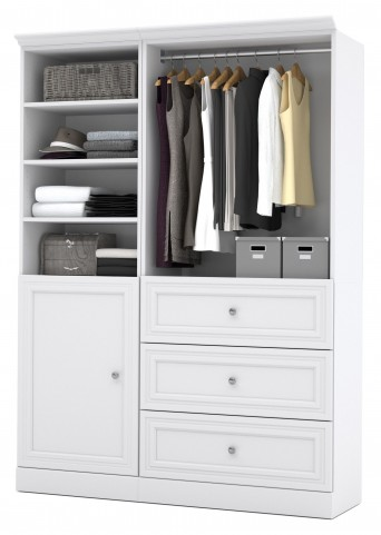 Versatile White 61'' Storage Wardrobe
