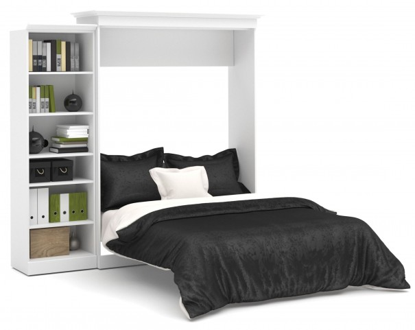 Versatile White 92'' One Sided Storage Queen Wall Bed
