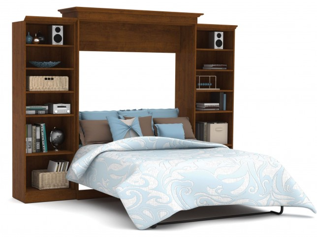 Versatile Tuscany Brown 115'' Two Sided Storage Queen Wall Bed