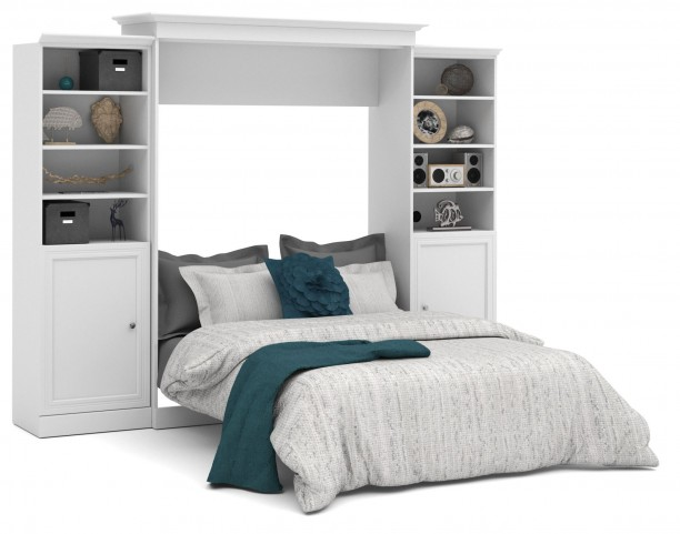 Versatile White 115'' Door Storage Queen Wall Bed