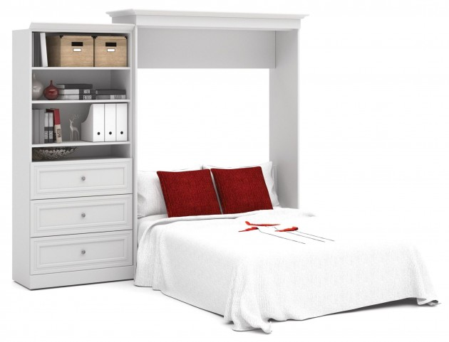 Versatile White 101'' Queen Wall Bed