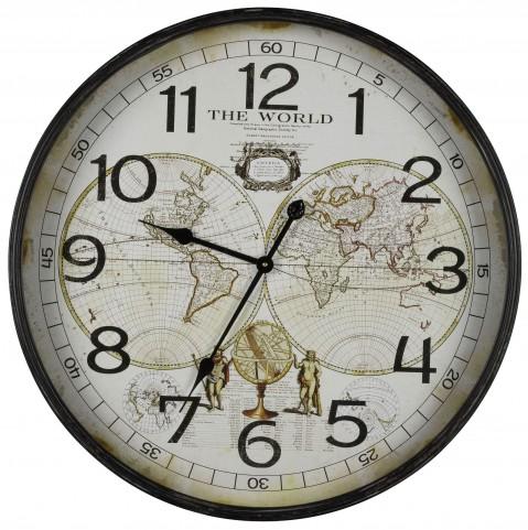 Aged Black Metal World Map Clock